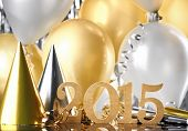 New Year 2015 decoration with balloons