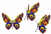 Red Blue Yellow White Paint Made Butterfly Set