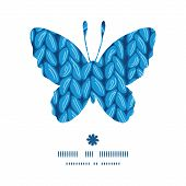 Vector knit sewater fabric horizontal texture butterfly silhouette pattern frame
