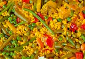 Paella And Vegetables, Vegetarian Recipe.
