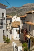 pic of costa blanca  - Old town street with white houses Altea Costa Blanca - JPG
