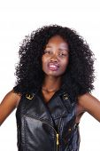 Attractive African American Teen Girl Leather Vest