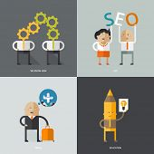 Flat design vector illustration concepts for business, web, mobile marketing, partnership, education