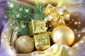 Beautiful Christmas balls on satin cloth, close-up
