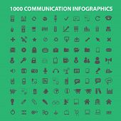 100 communication infographics, analysis, connection icons, signs set, vector