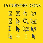 cursors, interface icons, signs set, vector