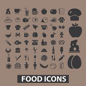 food, drink, vegetables, restaurant, menu icons, signs set, vector
