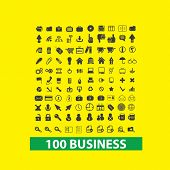 100 business, management icons, signs set, vector