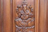 Ganesha On Teakwood Door