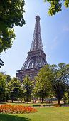 Vertical Panorama Of Eiffel Tower, Paris France.