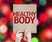 Healthy Body card with colorful background with defocused lights