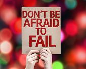Don't be Afraid to Fail card with colorful background with defocused lights