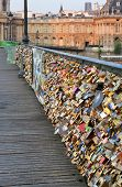 Closeup Of Love Locks On The Pont Des Arts Bridge, Paris France.