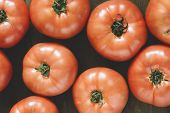 tomatoes on a wooden board,selective focus