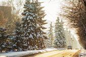 Winter road in city