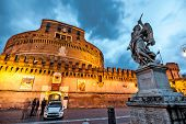 Rome, Italy - November 17, 2014: The Mausoleum of Hadrian, usually known as Castel Sant'Angelo  is one of the main tourist attractions in Rome.