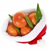 tangerines fruits in a christmas hat isolated over a white