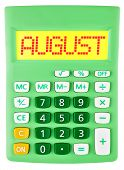 Calculator With August On Display Isolated