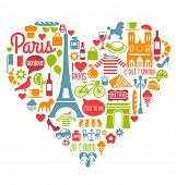 picture of french beret  - Many Paris France Icons Landmarks and attractions in a heart shape - JPG