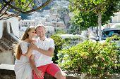 Caucasian Smiling Romantic Couple In Positano, Italy - Love Concept