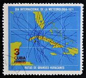 CUBA - CIRCA 1971: A stamp printed in Cuba dedicated to International Day of meteorology shows map