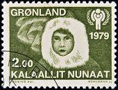 GREENLAND - CIRCA 1979: A stamp printed in Greenland shows Eskimo child