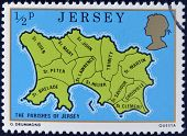 JERSEY - CIRCA 1976: A stamp printed in Jersey shows map of the parishes of Jersey circa 1976