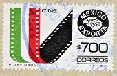 MEXICO - CIRCA 1987: a stamp printed in the Mexico shows cine-film Mexican Export circa 1987