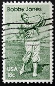 UNITED STATES OF AMERICA - CIRCA 1981: A stamp printed in USA shows golf player Bobby Jones