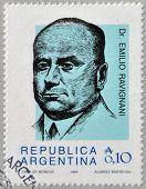 ARGENTINA - CIRCA 1986: Stamp printed in Argentina shows Emilio Ravignani circa 1986