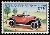 CHAD - CIRCA 1999: A stamp printed in Chad shows retro car Citroen 1919 France circa 1999