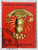 PERU - CIRCA 1972: A stamp printed in Peru dedicated to jewels of ancient Peru shows Auric little
