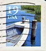 UNITED STATES OF AMERICA - CIRCA 1991: A stamp printed in USA shows fishing boat circa 1991