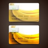 Set of gift cards with blurred background of yellow bananas, vector design