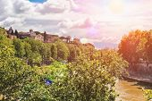 Picturesque Embankment Of The Tiber River In Rome, Italy