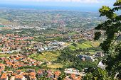 View Of The Village From The Fortress Of San Marino. The Republic Of San Marino