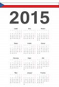 Czech 2015 Year Vector Calendar