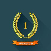 vector illustration with laurel wreaths in flat design.  1 place, winner