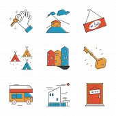 Rental Service And Camping Line Icons Set