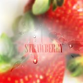 fresh blurred food background with strawberries, water drops and splashes. vector illustration