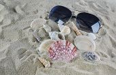 Sunglasses And Shells On The Beach Sand