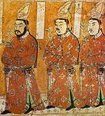 fresco of three princes of Gao Chang in the cave of Bezelik, China
