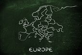World Map And Continents: Borders And States Of Europe