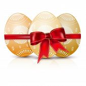 Glossy Easter Eggs With Red Bow
