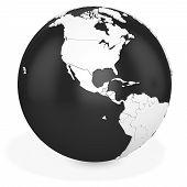 3D Black Earth Globe