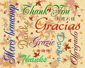 stock photo of thank you card  - Illustration composition of the words Thank you written in many languages for thank you note - JPG