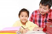 Schoolgirl doing homework
