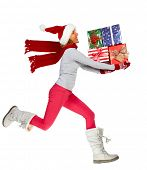 Happy running Woman with Xmas gifts isolated white background
