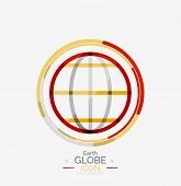 World globe logo stamp, minimal line design concept