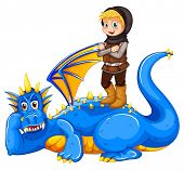 stock photo of tame  - A boy taming the dragon on a white background - JPG